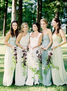 Love the slightly different maids' dresses, as well as the bride's.
