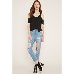 Love 21 Women's  Contemporary Distressed Jeans ($33) ❤ liked on Polyvore featuring jeans, torn jeans, padded jeans, distressed jeans, ripped jeans and distressing jeans