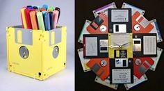 Pot de llapis i rellotge amb disquets