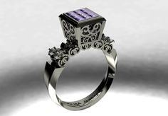 14 k White Gold  Unique  Proposal Ring with Amethysts by VOLISA, $1500.00