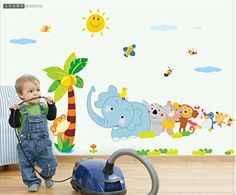 MLM Elephant Cartoon Children's Room Nursery Removable Vinyl Wall Stickers Baby Stickers Wall Decals for Kids' Rooms >> For more information, visit now : home diy wall