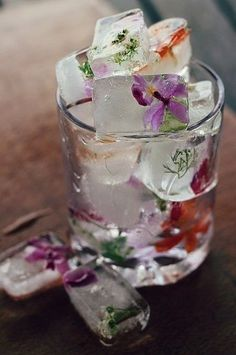 edible flowers & mint frozen in ice cubes! brilliant!