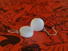 White perspex round earrings