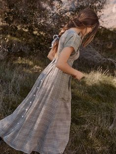 Vintage Plaid Dress - Boho style maxi dress, plaid dresses, long hippie fashion dress Source by Lady_Ardijana - Vintage Outfits, Girly Outfits, Vintage Dresses, Cute Outfits, Vintage Fashion, 1950s Dresses, Stylish Outfits, Estilo Preppy Chic, Trend Fashion