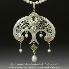 Phil Barnes, silver engraved and enamelled pendant with aquamarine, peridot, pearls, and diamonds