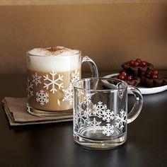 Small Snowflake Glass Mug in Coffee Mugs & Teacups | Crate and Barrel