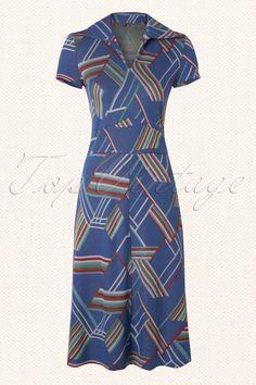 Wow To Go! - 60s Sosie Wow Retro Dress in Blue