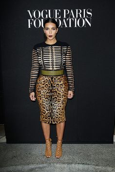 Kim Kardashian went wild for both textures and patterns when she wore Balmain's safari style to the Vogue Paris Foundation event.