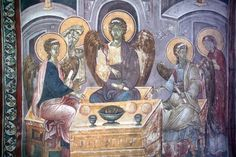 Different perspectives on Ancient Greek and Byzantine cuisine (Part II) Tempera, Fresco, Saying Grace, Abraham And Sarah, John Chrysostom, Bull Horns, Different Perspectives, The Monks, Orthodox Icons