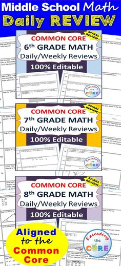 6th, 7th, 8th Grade Math Standards Based Assessments - Common Core This bundle contains 300 questions aligned to the common core math standards for 6th, 7th and 8th grade. Perfect for WARM UPS, homework, math centers & test prep. The resource is 100% EDITABLE! The Number System (6NS, 7NS, 8NS) Expressions and Equations (6EE, 7EE, 8EE) Functions (8F) Ratios and Proportional Reasoning (6RP, 7RP) Geometry (6G, 7G, 8G) Statistics and Probability (6SP, 7SP, 8SP)