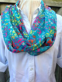Neon Animal Printed Infinity Scarf by AngelaWoodDesigns on Etsy, $25.00
