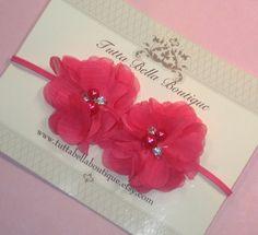 Hot Pink Flower headband, Baby Headband, Pearl e strass Faixa de Cabelo, rosa Chiffon Flor, Baby Laço de Cabelo, Baby Bow, Criança headband