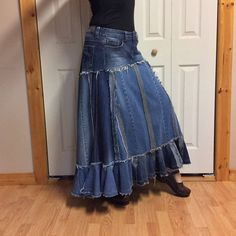 Denim Maxi Dress, Denim Skirt, Jeans Refashion, Prairie Skirt, Bustle Skirt, Refashioning, Stretch Denim, Blue Jeans, Creations