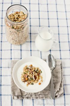 Great breakfast, muesli with plenty of nuts and hint of cinnamon and ginger!