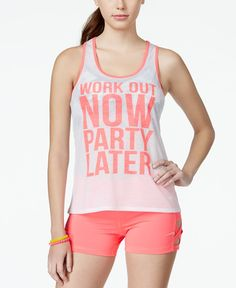 Material Girl Active Juniors' Work Out Graphic Tank Top, Only at Macy's