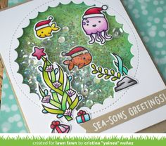 Lawn Fawn Intro: Christmas Fishes and Happy Holidays Line Border - Lawn Fawn What Is Christmas, Christmas Post, Handmade Christmas, Xmas, Holiday Cards, Christmas Cards, Lawn Fawn Blog, Lawn Fawn Stamps, Interactive Cards
