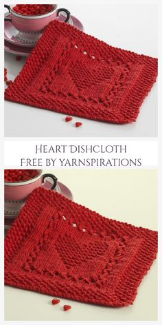 Knitted Heart Pattern, Knitted Dishcloth Patterns Free, Knitted Washcloths, Crochet Dishcloths, Easy Knitting Patterns, Knitting Stitches, Free Knitting, Knitting Projects, Baby Knitting