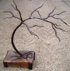 Iron with elm #sculpture by #sculptor Adrian Payne titled: 'The Last Tree. (Iron Metal Small Bonsai sculptures/statues)'. #AdrianPayne