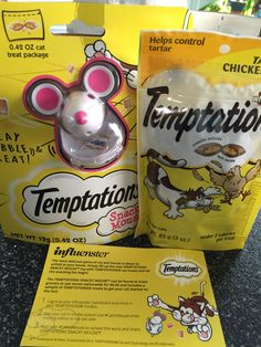 "#CatVsMouse Temptations cat treats received for free from my influenster vox box.  ""I received these products complimentary from Influenster for testing purposes."""