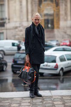 Nice bag.   Paris Street Style Fall 2013 - Paris Fashion Week Style Fall 2013 - Harper's BAZAAR