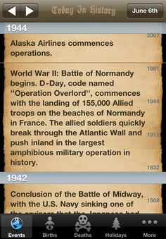 Today In History app shows loads of events that happened today.  Sorted by year to make it easy to find relevant events, and includes more info, links, etc. for each entry.  VERY COOL!