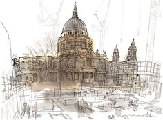 lucinda rogers drawing ink watercolour prints for sale st pauls cathedral construction bovis london life cityscape street scene building cranes New York Drawing, London Drawing, Great Buildings And Structures, A Level Art, Urban Sketchers, Built Environment, Beautiful Drawings, London City, Urban Landscape