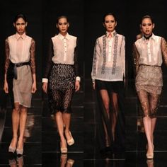 Who would have thought the traditional Barong Tagalog can be chic and wearable today? Last monday me and my group-mates tried to reinv. Filipino Fashion, Asian Fashion, Women's Fashion, Runway Fashion, Barong Tagalog For Women, Modern Filipiniana Gown, Philippines Fashion, Gowns With Sleeves, Traditional Dresses