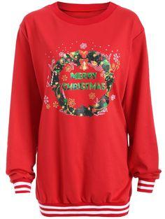 Christmas Graphic Varsity Striped Sweatshirt