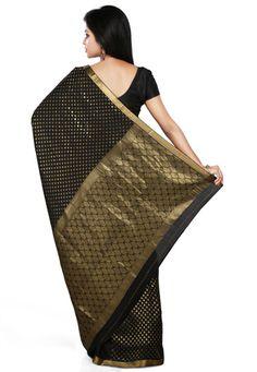 Saree Market: Pure Mysore Silk Saree Black Colour