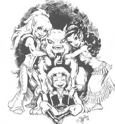 Elfquest art - cutter,nightrunner(wolf) leetha and skywise(sitting) main cast in gaphic novels by wendy and richard pini.