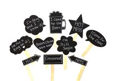 10 Chalkboard Photo Booth Props Sch Bubble Chalk Board Photobooth Set Of Wedding