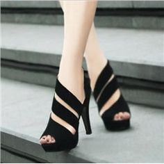 Sexy Concise Black Peep-toe Platform Sandals