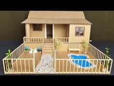 How to make beautiful house with cardboard? - - How to make beautiful house with cardboard? Cardboard Houses For Kids, Cardboard Box Crafts, Paper Crafts Origami, Easy Paper Crafts, Diy Home Crafts, Diy Arts And Crafts, Diy Paper, Popsicle Stick Crafts House, Craft Stick Crafts