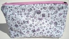 CLEARANCE Sewing Notions Cosmetic Bag - Buttons, Thread Spools, Bows.