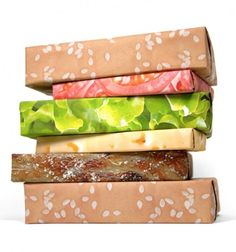 novel concept---  thematic wrapping paper on Kickstarter.  this is the cheeseburger set.