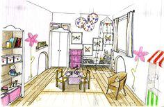 Chambre de princesse, rose et blanc, avec dînette et petite table au centre Petites Tables, Decoration, Centre, Architecture, Design, White Roses, Princess, Bedroom, Decor
