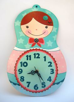 Matryoshka Clock  Emilia Model by GalaStudio on Etsy,