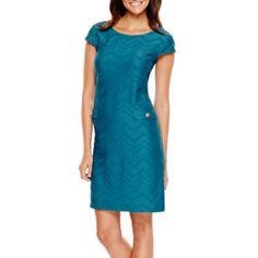 Liz Claiborne® Cap-Sleeve Textured Shift Dress   found at @JCPenney
