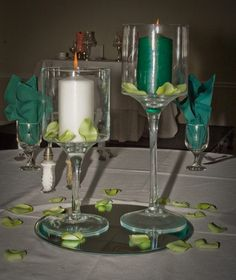 Client provided petals and color candle
