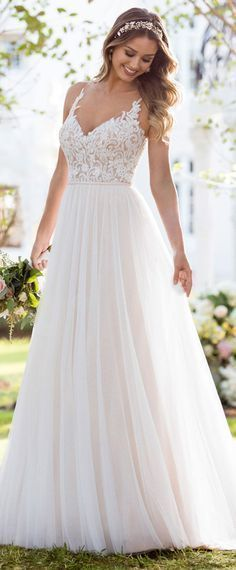 Alluring Tulle V-neck Neckline A-line Wedding Dress With Beaded Lace Appliques & Belt.  Stunning!  #wedding  #bridal  #dress  #beach wedding