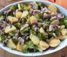 Brokkoli-Schnitzel-Pfanne mit Quark-Dip