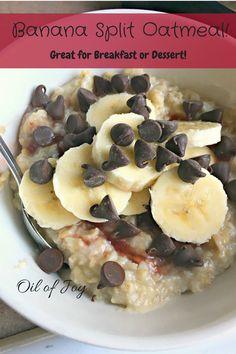 Pte Banana Split Oatmeal - THM E - Sugar free - allergy friendly - egg free - dessert - breakfast Trim Healthy Mama Plan, Trim Healthy Recipes, Thm Recipes, Gourmet Recipes, Snack Recipes, Cooking Recipes, Dinner Recipes, Banana Recipes, Oatmeal Recipes