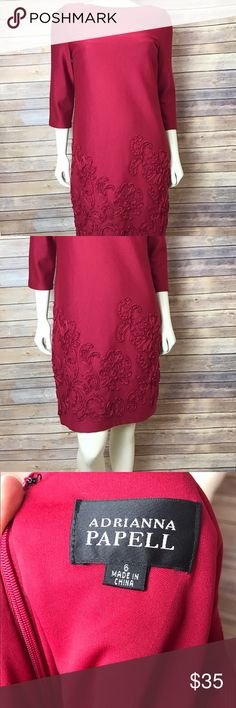"""Adrianna Papell Embroidered Applique Floral Dress Women's Adrianna Papell burgundy/wine colored dress Beautiful floral applique design Perfect for Easter, a wedding, date night or any other special occasion Size 6. Armpit to armpit 17"""" Waist laid flat 16"""" Length 37"""" MSRP $170 Great condition. One loose thread, slight pilling on shoulder and one darker spot as shown in 9th picture.  This is barely noticeable and could be the nature of the material, I just wanted to note it. Smoke free home…"""