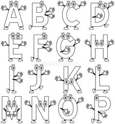 """Coloring Cartoon Alphabet Funny cartoon alphabet a€"""" part black and whit , Cute Fonts Alphabet, Hand Lettering Alphabet, Calligraphy Alphabet, Cartoon Font, Cartoon Letters, Graffiti Lettering Fonts, Creative Lettering, Poema Visual, Alphabet Drawing"""