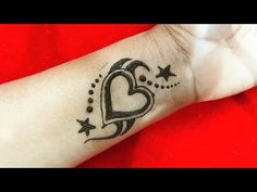 How to make Temporary Heart Shape Tattoo with Mehndi || Diy Heart Shape Henna Tattoo Mehndi Design - YouTube
