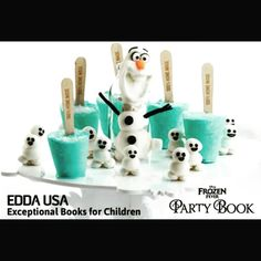 '#Olaf & The #Snowgies' are refreshing treats, perfect for hot summer nights! Recipe now available in #Disney #Frozen Fever Party Book, published by @eddausa! #partyfood #eddausa #dessert #icecream #frozenicecream #popcycle #tasty #delicious #funfood #kids