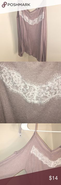 Off the shoulder lace sweater Super cute and comfy, only worn once Charlotte Russe Sweaters Crew & Scoop Necks