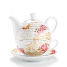 "Avon Living Stackable Tea Set ""Tea""-Rific! Unique and stackable (teapot stacks onto cup). It's perfect for all the tea lovers on your list."