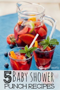 Need baby shower food ideas or baby shower drinker? If you are hosting a baby shower then check out these 5 delicious punch recipes! The best part is you can change up some of the ingredients to fit the theme of the shower. Baby Shower Punch, Baby Shower Drinks, Baby Shower Parties, Baby Showers, Baby Shower Menu, Baby Boy Shower, Baby Shower Gifts, Comida Para Baby Shower, Punch Recipes