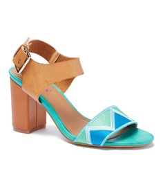 Love this Tan & Blue Geometric Sandal on #zulily! #zulilyfinds